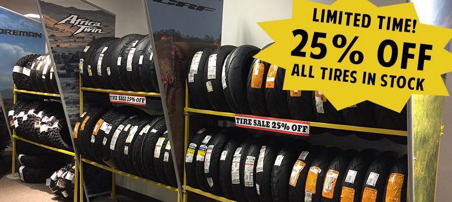 25% off all tires in stock for a limited time!